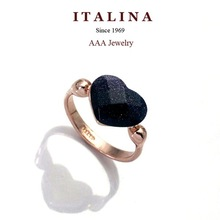 Italina Rigant Heart Ring Real Gold Plated Austrian Crystal Women Rings