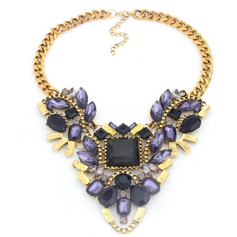 fashion Women crystal imitation diamond pendant Chunky necklace Jewelry big flower choker necklace(China (Mainland))