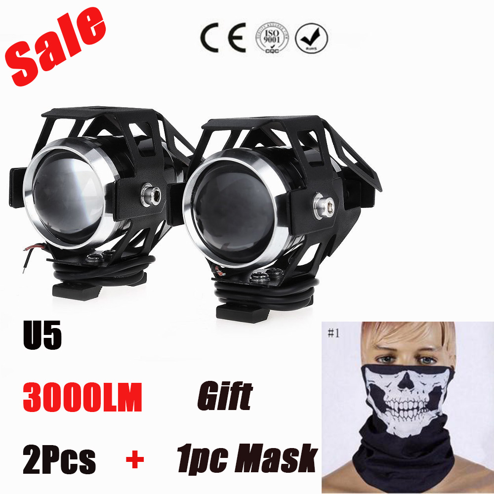 2Pcs 125W Motorcycle LED Headlight 2 Color Waterproof LED Fog Light 3000LM CREE U5 Motorbike Driving Spot Head Lamp + Motor Mask(China (Mainland))