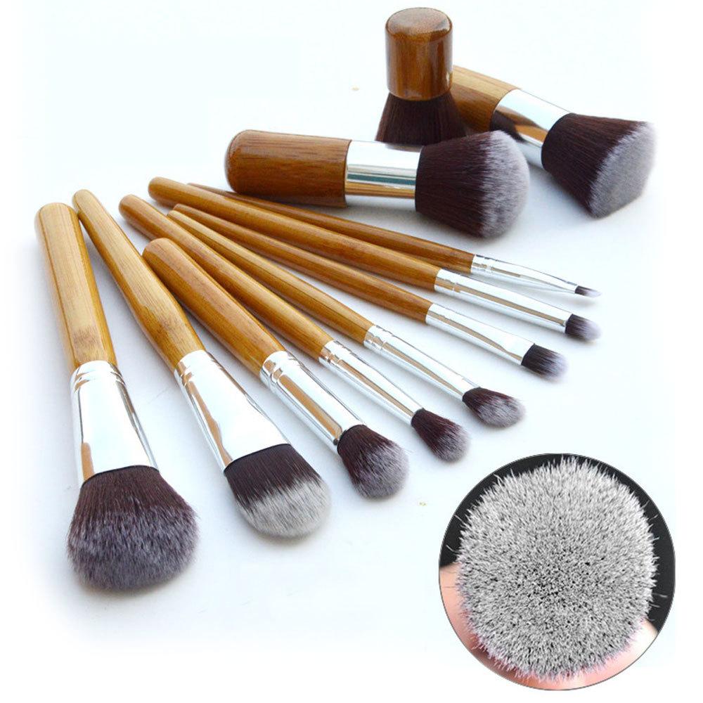 2015 New 11pcs/Set Pro Makeup Cosmetic Blushes Concealer Brush Foundation Eyeliner Bamboo Powder Brushes Set Free Ship(China (Mainland))