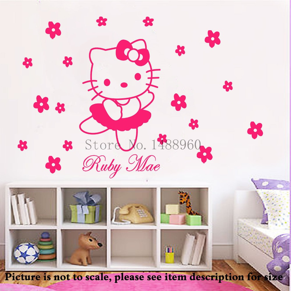 LH123 Personalized name HELLO KITTY Flowers wall stickers girls room decor Wall Art Stickers&murals Kids Room Decoration(China (Mainland))