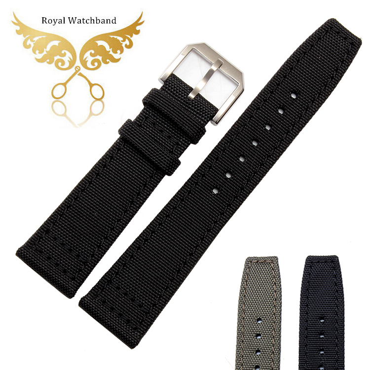 20mm 21mm 22mm Replacement Watch Band Black High Quality Nylon Genuine Leather Watch Band Strap Bracelets For Pilot(China (Mainland))