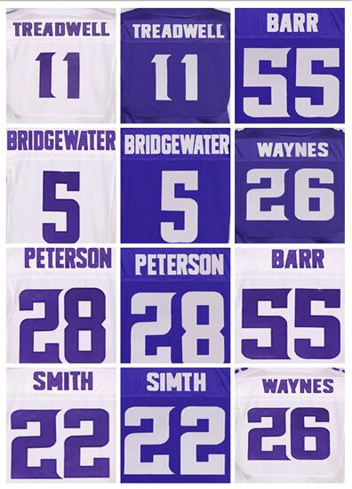 cheap Men's 11 Laquon Treadwell 5 Teddy Bridgewater 28 Adrian Peterson 26 Trae Waynes 55 Anthony Barr Harrison Smith jersey(China (Mainland))