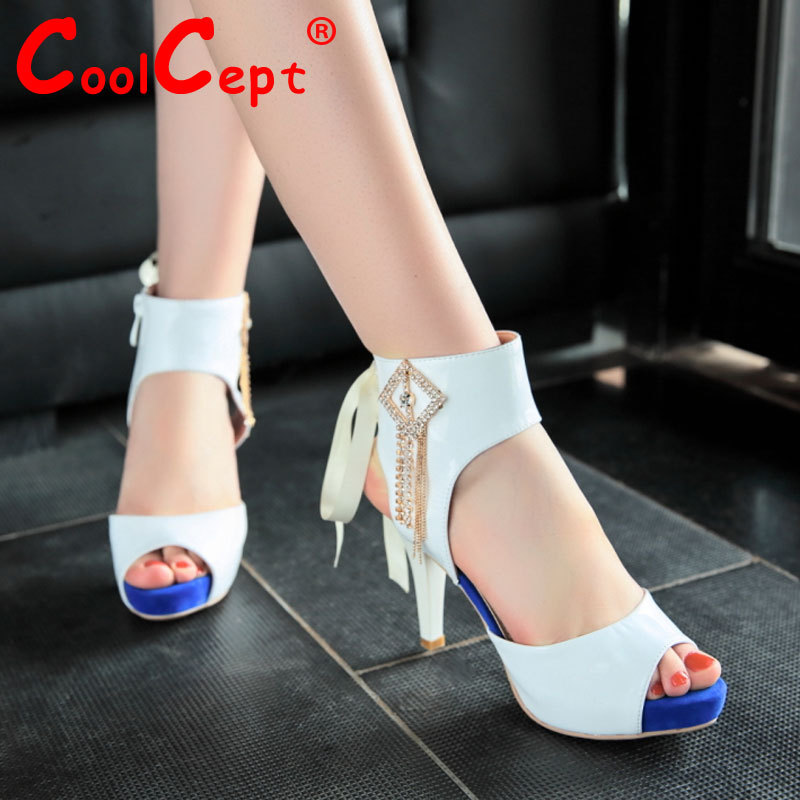 women real genuine leather stiletto peep toe ankle wrap high heel sandals sexy fashion brand heeled lady shoes size 34-39 R6766<br><br>Aliexpress