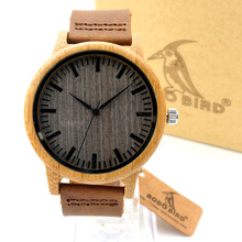 Bobobird Z001 New arrival Vintage Round Bamboo Wood Quartz Watches With Leather Bands Womens Mens watches top brand luxury