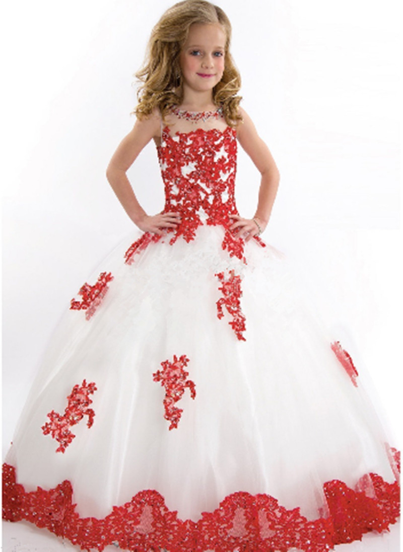 2016 new arrival little girl ball gown scoop appliqued for Wedding dresses for girl