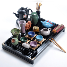 Black tea kung fu tea solid wood tea tray tea sea ceramic glass tea set