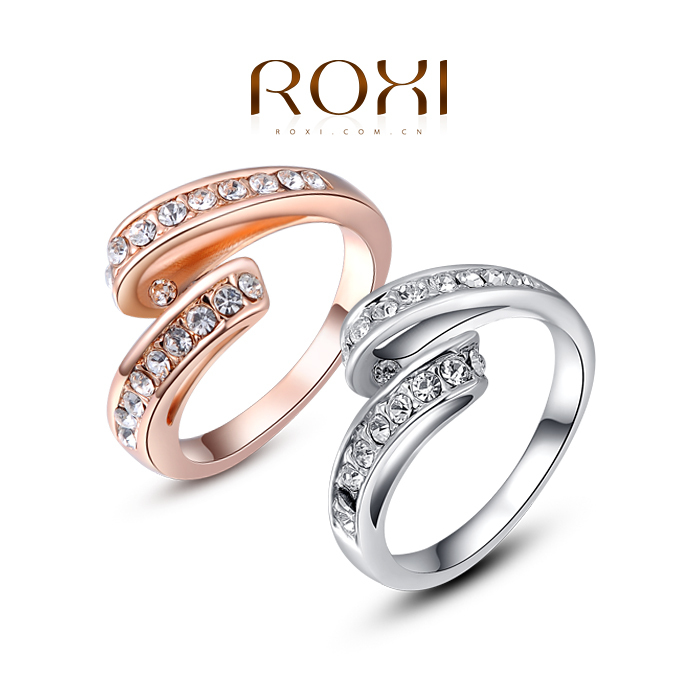 Charm Party Jewelry 18K White Gold Plated Simple Ring SWA ELEMENT Austrian Crystal Ring FREE SHIPPING #2010280190(China (Mainland))