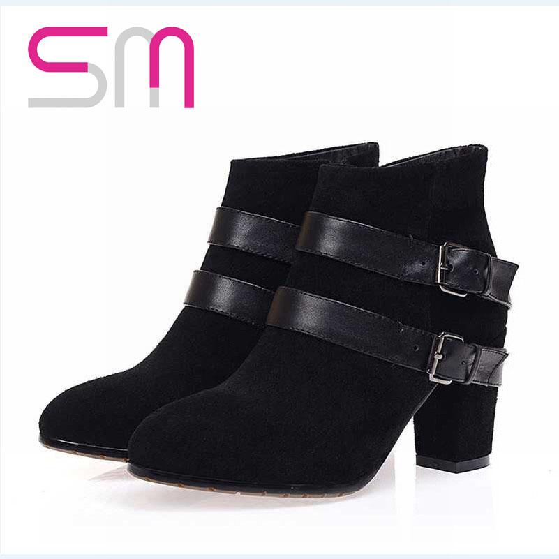 Women Classics Black Color Shoes Zip Round Toe Platform Shoes Thick High Heels Ankle Boots Elegant Style Shoes Euro Size 34-39