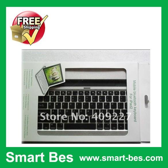 Smart Bes!Free Shipping (Black) Aluminum Case Wireless Bluetooth Keyboard For Ipad 2 Wireless Keyboard(China (Mainland))