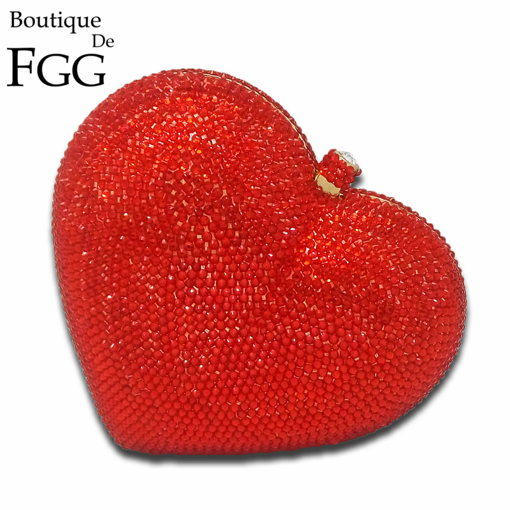 Gift Box Shinny Heart Shape Women Crystal Clutches Evening Purses Wedding Party Clutch Bags Rhinestones Diamond Handbags Bolso(China (Mainland))
