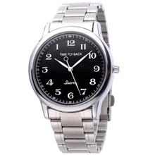 Envío gratis el reloj, antihorario moda extraños Creative Time Fly Back macho acero completo reloj de cuarzo regalo de los amantes