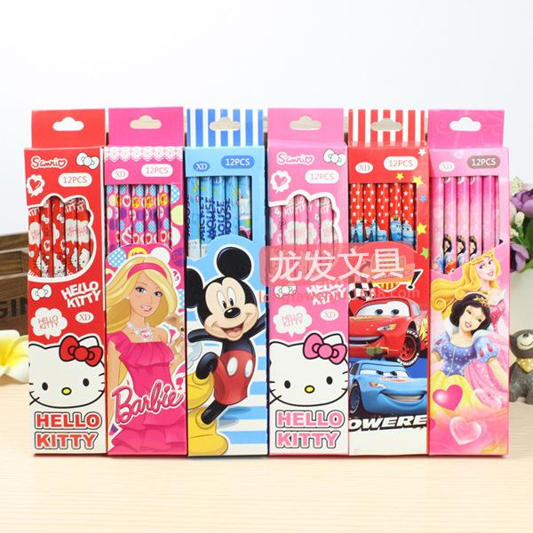 12pcs / set Korea paragraph stationery can Ai Dika 12 through SpongeBob pencil boxed school supplies gift