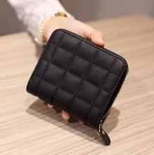 Corto las mujeres carteras de cuero de la PU de mujer cuadros bolsos de tarjeta titular de la cartera de mujer de moda cremallera pequeña cartera con monedero(China)