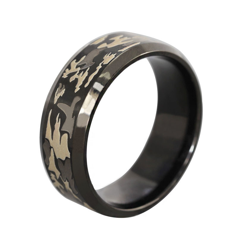 Military rings vintage punk three-color camouflage black ring titanium steel black Camo men jewelry anel masculino anelli(China (Mainland))