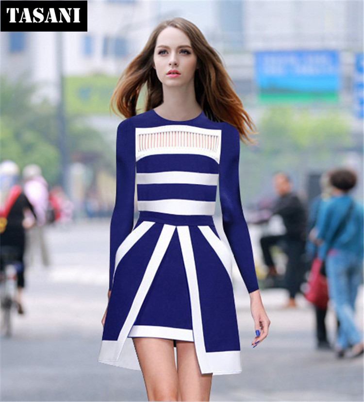 Slim 2015 New Fashion Spring Cotton Women Dress European Style Long Sleeves Two-Piece Clothing K3115 - TASANI store