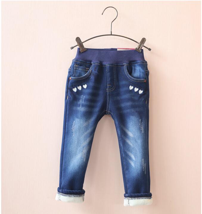 size 30846049 Wholesale 2015 New Fashion Winter Girls Jeans Fleece Worm Solid Girls Pants Denim Solid Children Clothes Supplier<br><br>Aliexpress