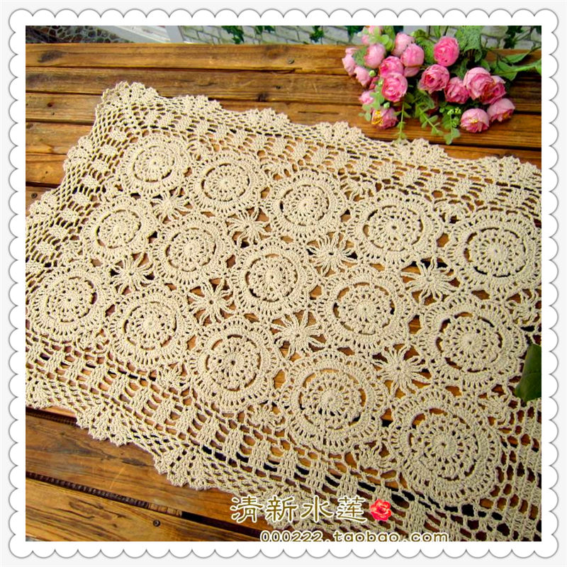 2016 new fashion cotton crochet lace table cloth table cover sofa towel overlay for home decor cabinet cover table runner(China (Mainland))