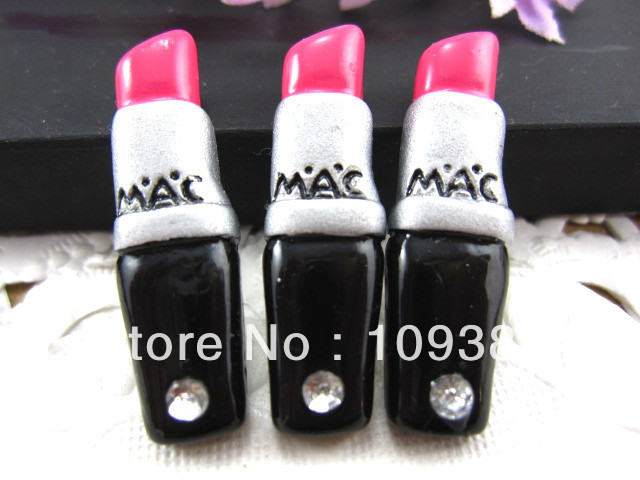 2013New arrival 20pcs/lot, flat back resin lipstick  for phone home decoration