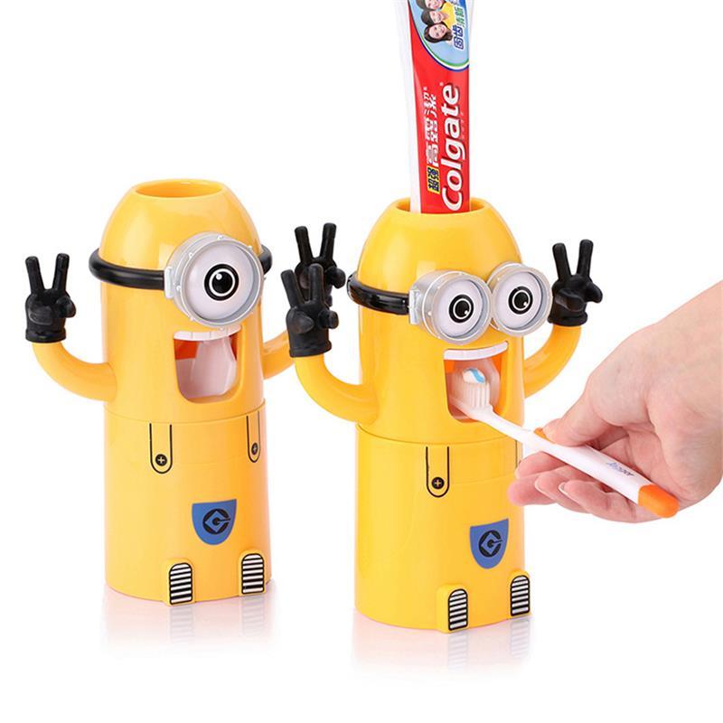 Minion Toothpaste Dispenser Bathroom Accessories Automatic Toothpaste Dispenser Kid Plastic Bathroom Set Toothbrush Holder Cup(China (Mainland))