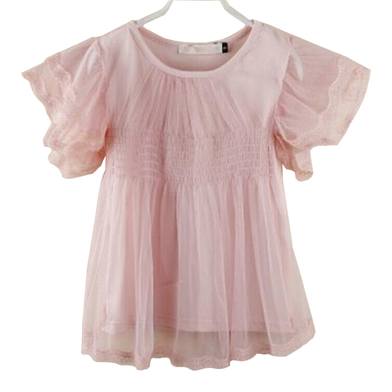 2015 Summer Style New Fashion Children T Shirts Casual Lace Chiffon Short Sleeve Girls Shirt Pink White Hot Sale 2-7 Years Old(China (Mainland))