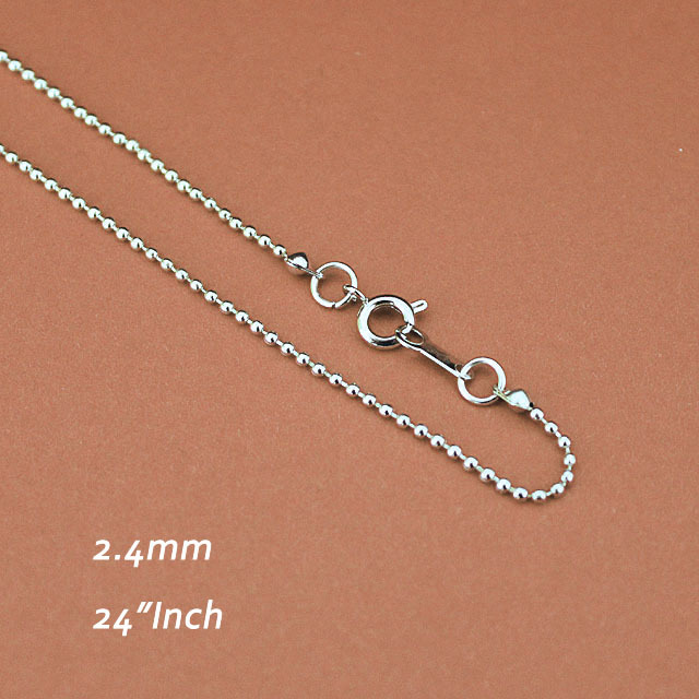 Rhodium Plated 2.4mm Metal Links With Round Spring Clasps Connectors Bulk Supply diy Jewelry Findings Ball Beads Chains 24inch <br><br>Aliexpress