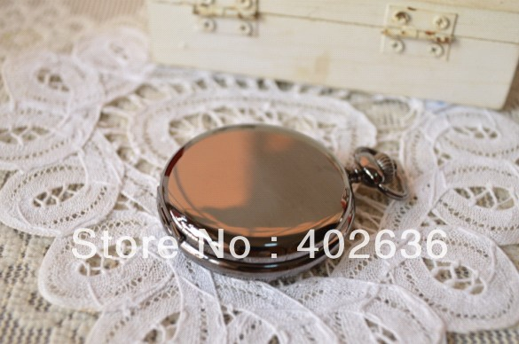 2013 hotsale HB0389 D4.5cm black smooth face antique pocket watch with chain free shipping<br><br>Aliexpress