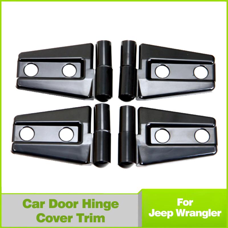4Pcs Black ABS Door Engine Hood Hinge Cover For Jeep Wrangler JK 2Door 07-16<br><br>Aliexpress