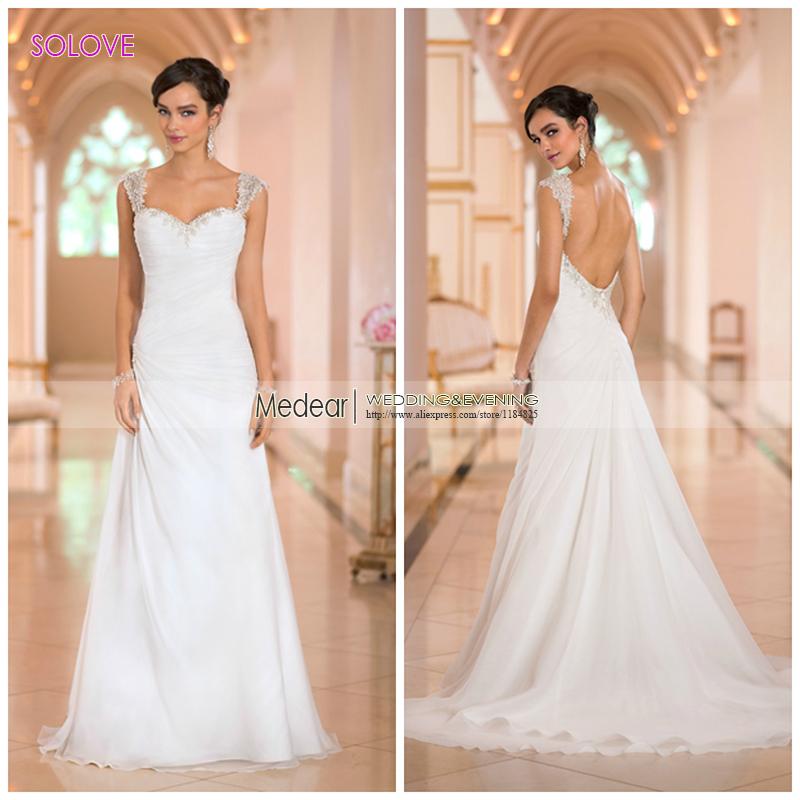 2016 a line sweetheart cap sleeve chapel train chiffon for Chiffon sweetheart wedding dress