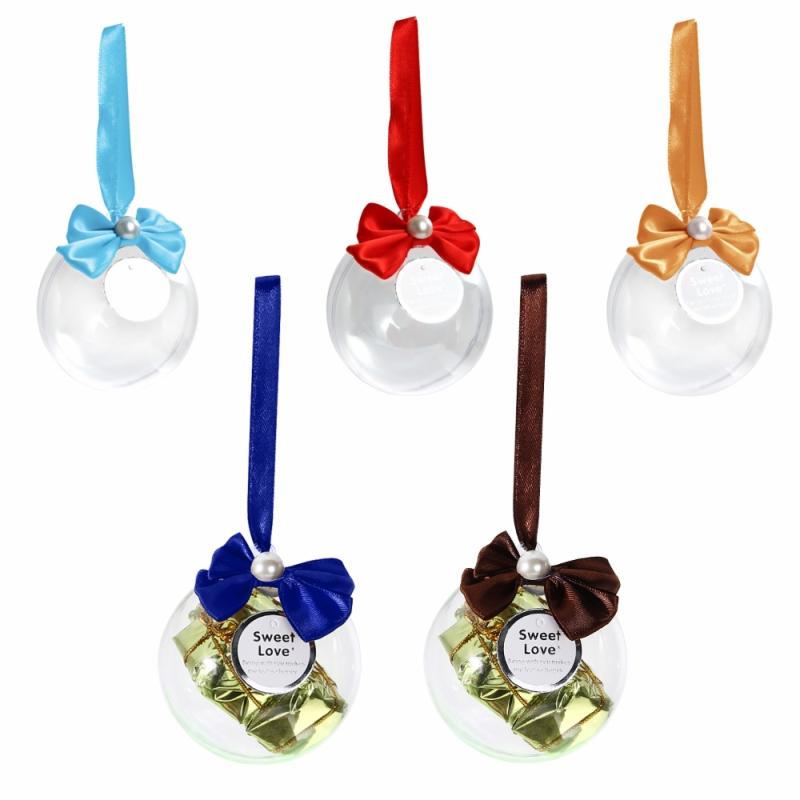 2016 New 12pcs/1set Bow Wedding Plastic Candy Box Ribbon Transparent Ball Creative Party Decoration(China (Mainland))