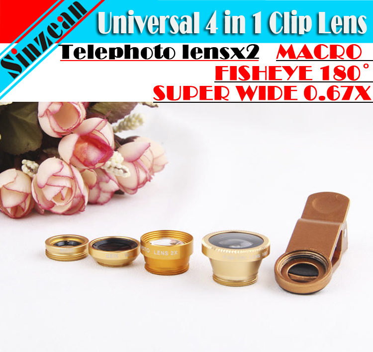 10pcs Universal 4 in1 0.67XSPUER WIDE ANGLE TELEPHOTO lens fisheye Macro clip Lens For iPhone6 5S 5C Samsung Note 2 3 S4 S5