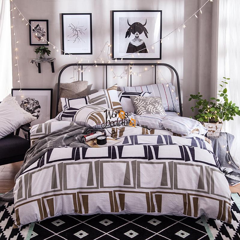 ropa de cama de algodn conjuntos de ropa de cama a cuadros cuadrado de