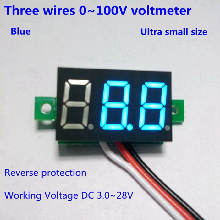 10PCS/LOT Blue LED digital voltmeter car motor motorcycle battery monitor dc volt voltage panel meter DC 0-100V B0009-10(China (Mainland))