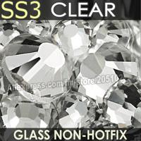SS3 1.3-1.4mm Clear Nail Rhinestones for to Nails Art Glitter Crystals Decorations DIY Non HotFix Rhinestone Decor strass stones