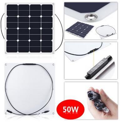sunpower cell high efficiency Semi Flexible Solar Panel 50w<br><br>Aliexpress