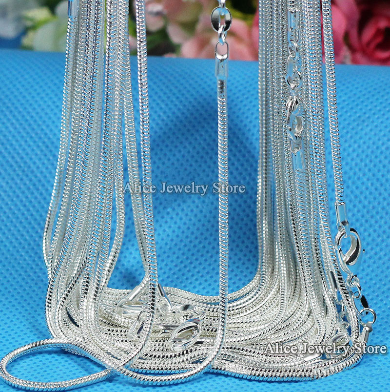 """Wholesale 10pcs/lot ,Fashion Silver Necklace Chains,1mm Silver Snake Chain Necklace 16"""",18"""",20"""",22"""",24"""",26"""",28"""",30"""",Pick Length(China (Mainland))"""