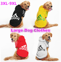 Free Shipping Large Dog Clothes Hoodie Coat Playsuit Jumpsuit T shirt Adidog Big Pet Clothing for Dogs SportsWear 3XL-9XL 5(China (Mainland))