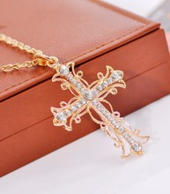 Buy Accessories vintage exquisite cross necklace Gold Color Pendant necklaces women jewelry wholesale cross women men's jewelry for $2.42 in AliExpress store