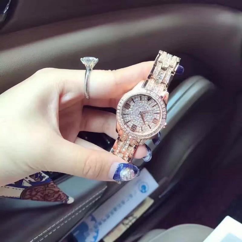 2016 Женщины Rhinestone Часы Розовое Золото Платье Часы Полный Diamond Crystal женщин Роскошные Часы Женские часы донна relojes