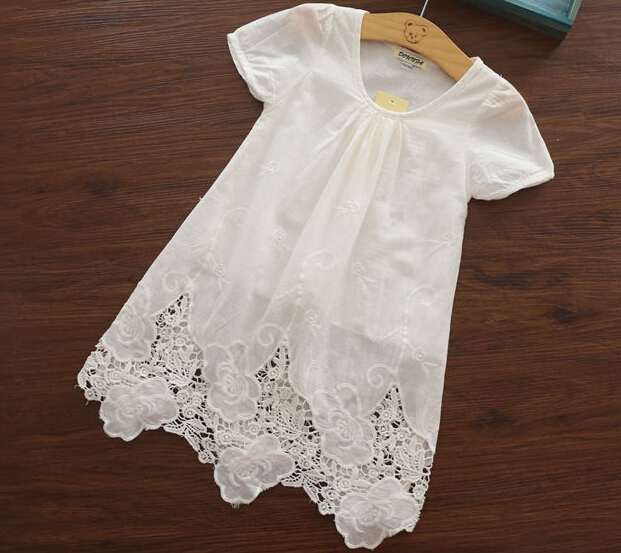 New Arrival 2015 Summer Baby Girls Fashion White Dresses Girls Embroidery Floral  Dresses Girls Cotton  White Dress<br><br>Aliexpress