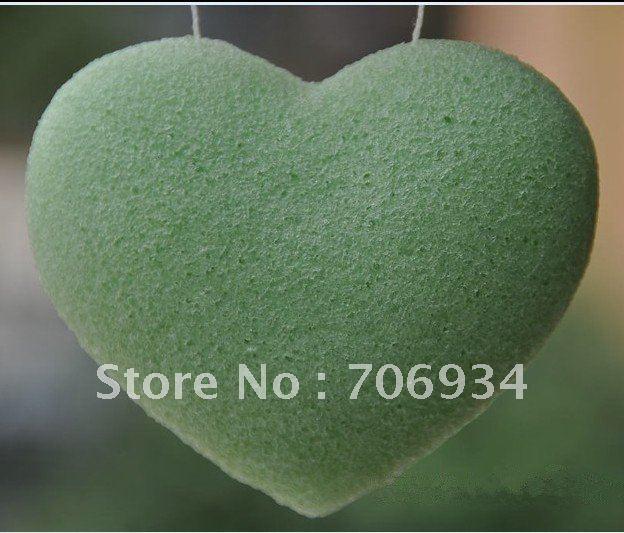 12pcs/lot 4colors Heart 100% Natural Green Tea Konjac Facial Sponge Facial Wash Cleaning Puff 95*72*28