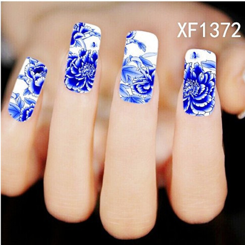 [T-XF1372] 1 Sheet New Nail Art Full Cover Blue Flower Stickers Decals Water Transfer Wraps Decorations Manicure Care Tools(China (Mainland))
