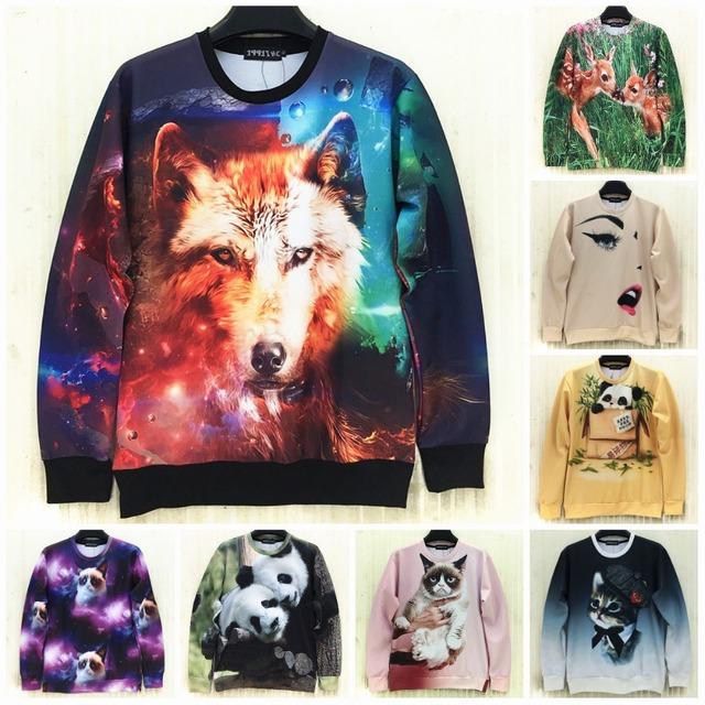 Мода 2016 новых весенние мужчины / женщины 3D пуловер толстовки напечатаны животных ...