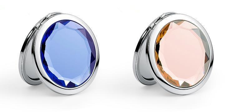 7cm Folding Makeup Compact Mirror With Crystal Metal