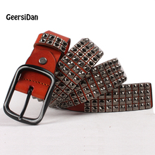 Buy GEERSIDAN High quanlity black Punk first layer leather men Belt Spikes fashion Metal Rivet Belt pin buckle Pure belt foe men for $26.99 in AliExpress store