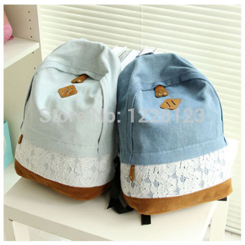 2015 Girls Womens Vintage Denim Casual Satchel Backpack Rucksack Shoulder School Bag