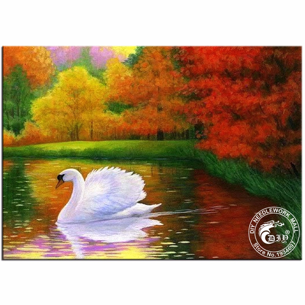 5D Diamond Embroidery Autumn Swan Animals Love Diamond Painting Diamond Mosaic Crafts Gift Diamond Pattern Paintings Rhinestones(China (Mainland))