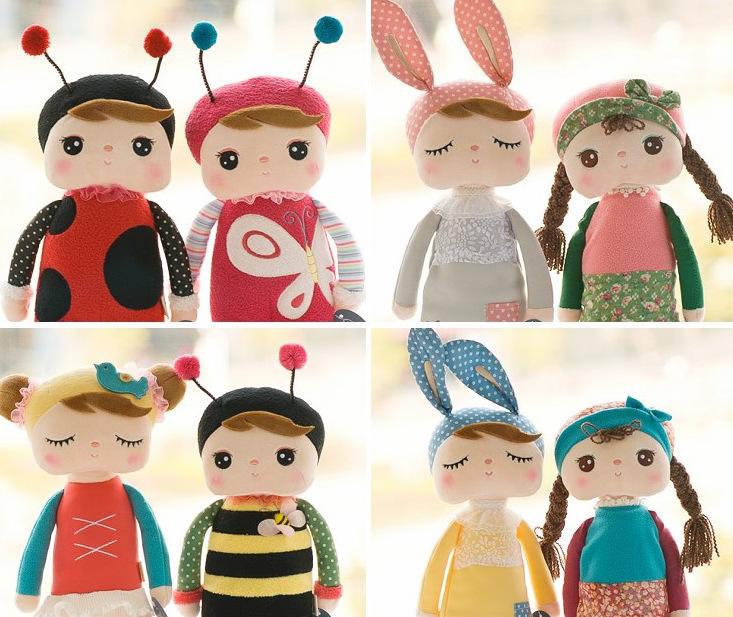 1pcs Cute Angela Dolls with Gift Box Metoo Bunny Plush Toys Stuffed Animals Panda Bee Dolls for Girls Baby Kids, frozen doll(China (Mainland))