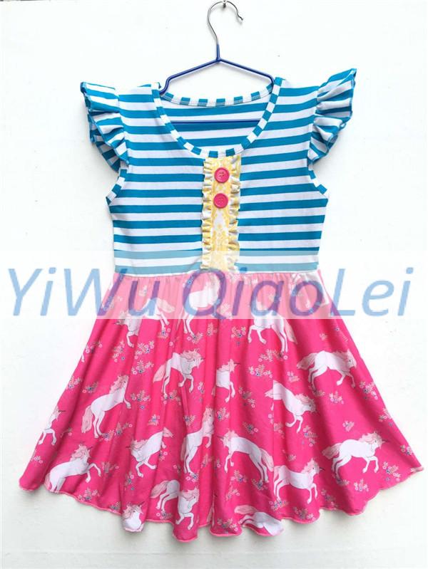Free DHL Shipping 30pcs 1 lot Blue Stripe Unicorn Pattern Sleeve Dresses Can Mix Size