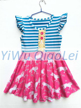 Free DHL Shipping 30pcs 1 lot Blue Stripe Unicorn Pattern Sleeve Dresses Can Mix Size